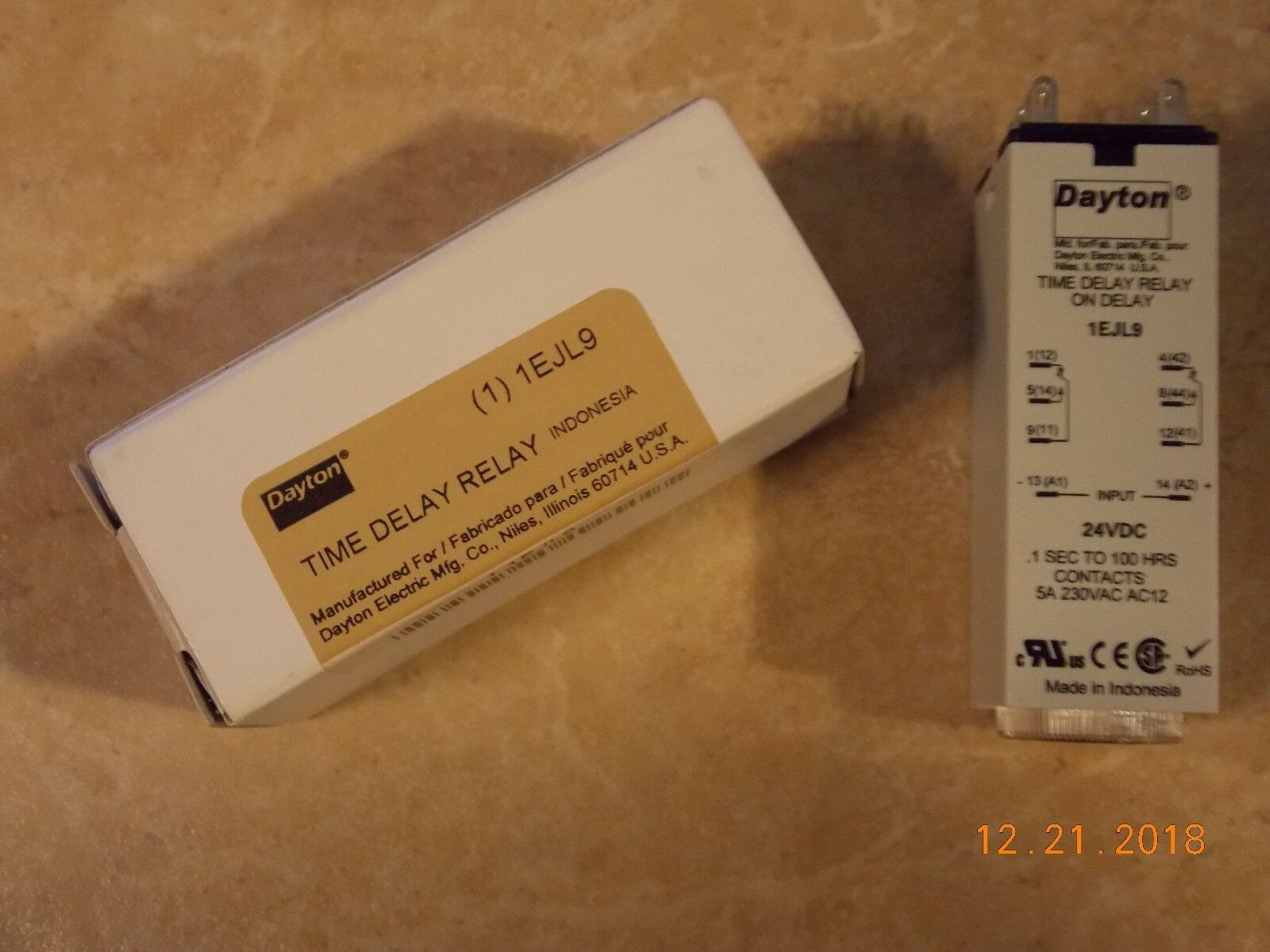 Dayton 1EJL9 Time Delay Relay 8 Pin 5a DPDT 24v on