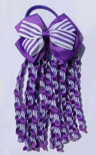 Purple /& White Double Bow Streamer Ribbon Elastic Bobble Cheer Leader