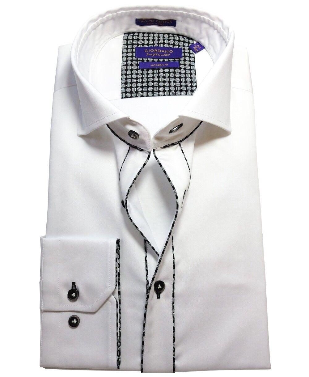Giordano Langarmhemd Modern Fit in weiss mit schwarzer Paspel M 40 bis XXL 46