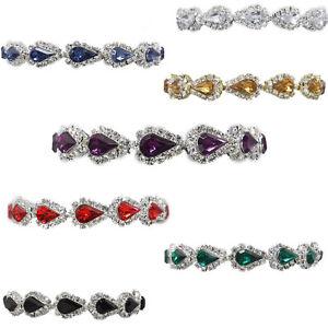 Glitzy Glamour Black Teardrop Crystal Diamante Tennis Bracelet 7xc1817