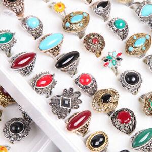 Grosshandel-50stk-gemischt-Damen-Mode-Metalllegierung-Schmuck-Hochzeit-Ringe
