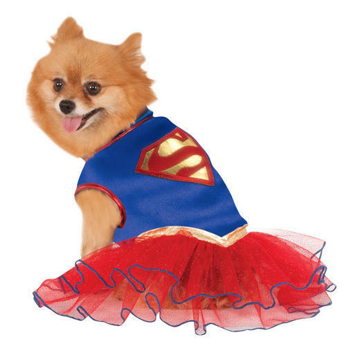 Supergirl Dog Fancy Dress Superhero Justice League Comic Book Puppy Pet Costume