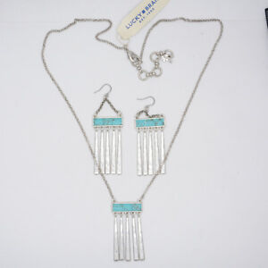 Lucky-Brand-Jewelry-matte-silver-plated-paddle-tassle-necklace-turquoise-earring