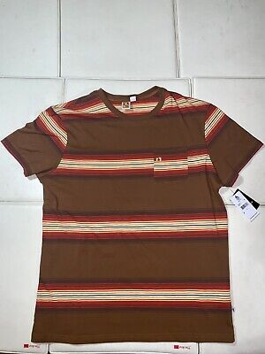 HANG TEN T-shirt Retro Surf Beach Multi Striped Front Pocket Tee Mens MEDIUM NWT