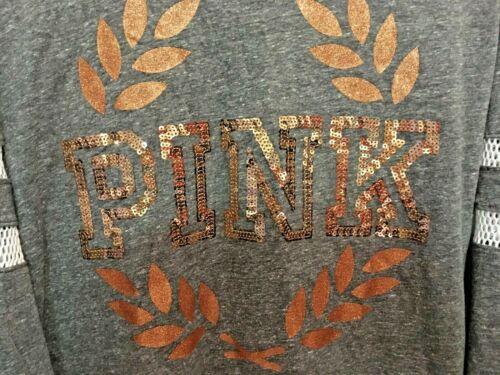 Victoria Secret PINK Sequin Bling Long Sleeve Logo Campus Crew Tee XS S M L