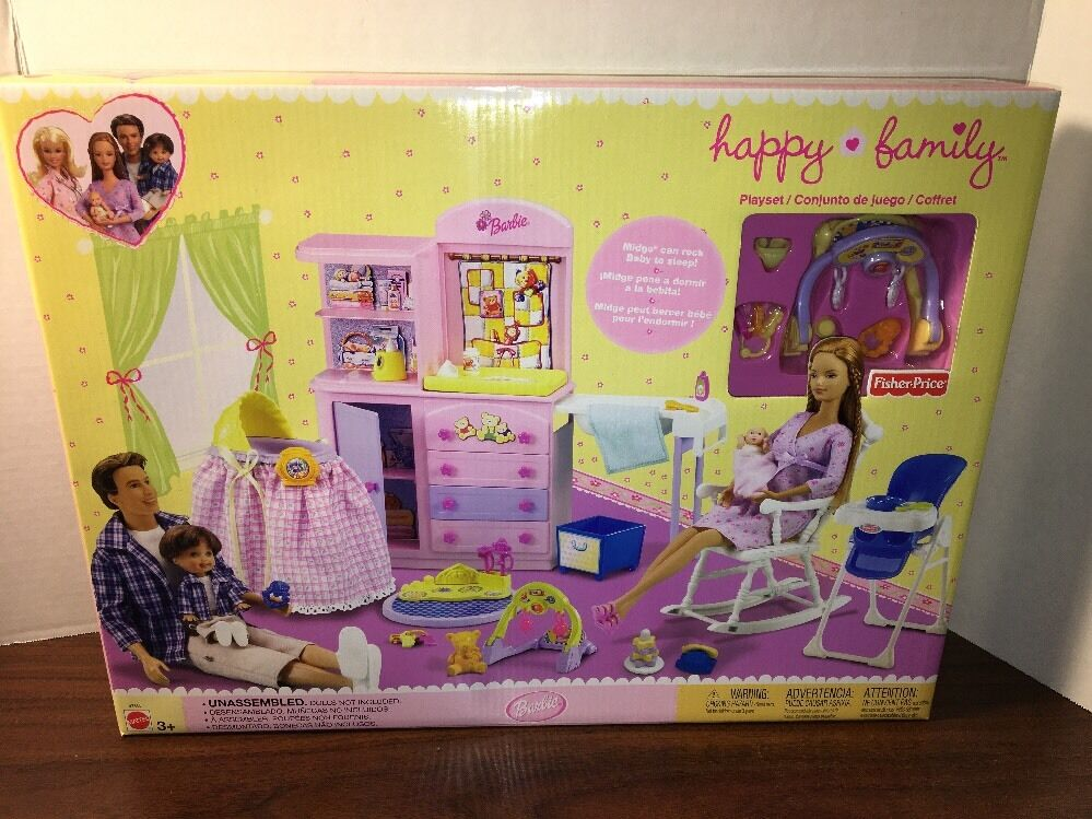 2002 Barbie Rara Familia Feliz bebé vivero Conjunto de Juego Fisher-price BRAND-NEW SEALED