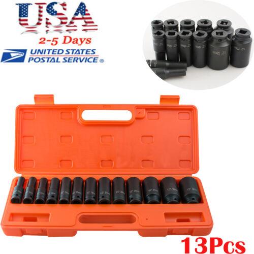 "13x 1//2/"" Deep Impact Socket Tool Kit 10-32mm Metric Air Garage Workshop Supplies"