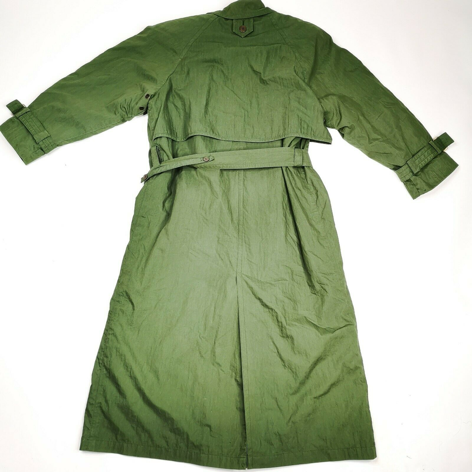 MISTY HARBOR Trench Coat Jacket 8 Olive Green - image 8