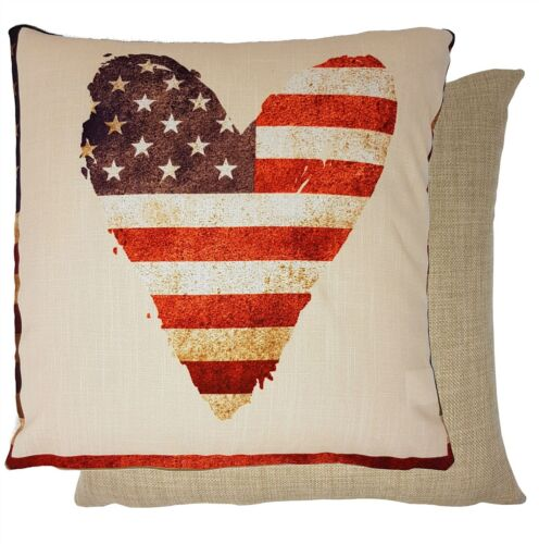 "4 X HEART STARS STRIPES USA FLAG RED WOVEN 17/""-43CM CUSHION COVERS"