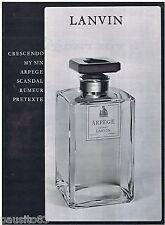 PUBLICITE ADVERTISING 105  1963  LANVIN  parfum ARPEGE extrait