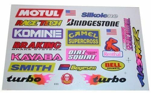 19 Sticker Kit Universal Motocross Decals Bell KAYABA Smith Camel Bridgestone