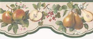 Wallpaper-Border-Apples-Pears-Cherries-Berries-amp-Blossoms-Die-Cut-Green-Trim