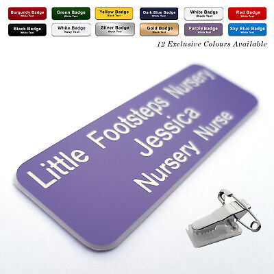 Personalized Premium Name Badge Staff ID Tag Custom Bespoke Engraved With Pin