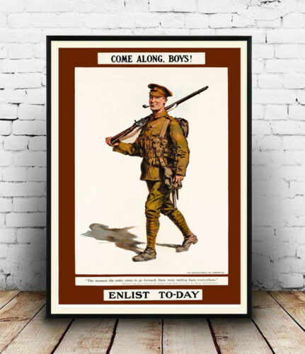 Enlist Today Wall art. Reproduction Vintage Army Recruiting poster