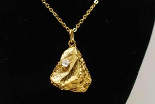 18ct Gold Plated Gold Nugget Pendant with Chain Vintage 1960 1970