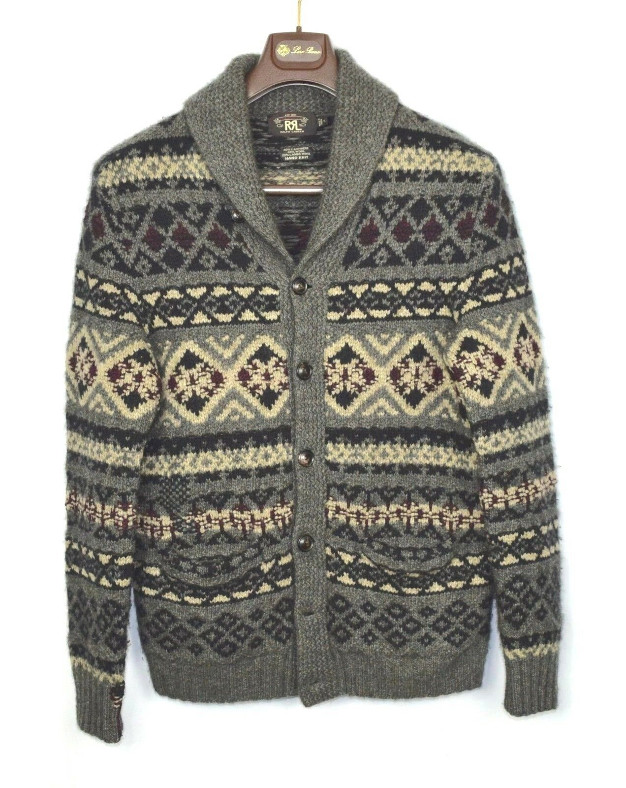 RRL Handknit Cashmere Wool Shawl Collar Cardigan Southwest Visvim Men's S Indian