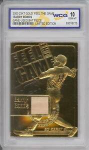 BARRY-BONDS-2000-Game-Used-Bat-23KT-Gold-Card-Sculptured-Graded-GEM-MINT-10