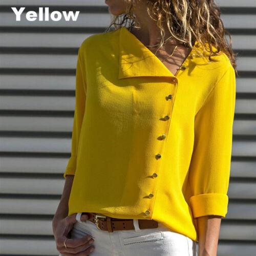 Womens Rollbare Langarm Knopf vorne Unregelmäßige Blusen Shirt Chiffon Tops