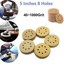 5in 40 1000 Grit Hook Loop Sanding Discs Orbital Sander Paper Sheet Pad 8 Hole