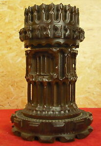 Ornamentally-Turned-Rosewood-Gothic-Towerwith-tour-a-Guillocher-c-1850-H-13-5-cm