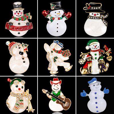 1PC Christmas Cartoon Enamel Snowman Brooch Pin Collar Lapel Badge Xmas Jewelry