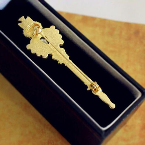 Womens Lady Luxury Gold Scepter Royal Crown Cross Stone Pin Brooch Vintage Style