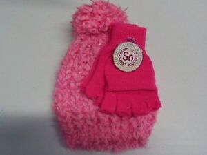GIRLS-SIZE-S-SO-BRAND-CUTE-PINK-KNIT-HAT-AND-GLOVES-SET-NEW-NWT-4567