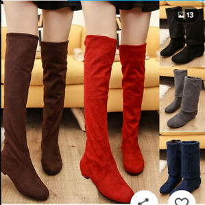 94e5e5fa5b9 Womens Regular and Wide Calf Faux Suede Ruche Over the knee Boots ...