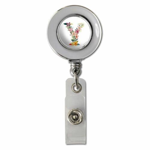 Letter Y Floral Monogram Initial Chrome Badge ID Card Holder