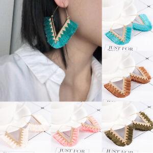 Women-Ethnic-Bohemian-Long-Tassel-Fringe-Boho-Ear-Stud-Dangle-Earrings-Jewelry