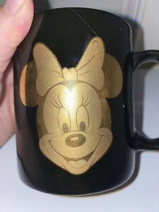 Walt Disney Gold Minnie Mouse 12oz Coffee Mug- Black- Preowned