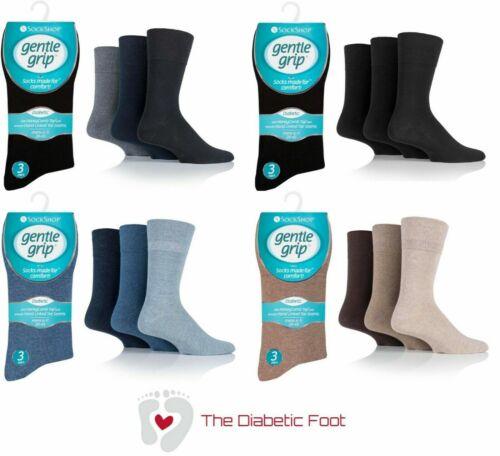 Mens SOCKSHOP DIABETIC Gentle Grip Cotton Socks NON ELASTIC Seemless Toe Soft UK