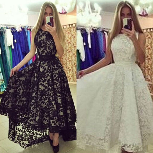 Women Sexy Lace Evening Formal Party Cocktail Bridesmaid Prom Gown Long Dress
