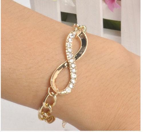 Wholesale Women New Fashion Cute Gold Crystal Rhinestone Infinity Chain Bracelet