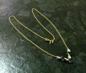 Goldcollier-mit-Saphiren-und-Diamanten-333er-Gold-Kette-8-Karat-40-5-cm-GG-WG