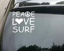 Peace Love Surf Coche Divertido/Ventana Jdm VW Euro Vinilo Calcomanía Adhesivo