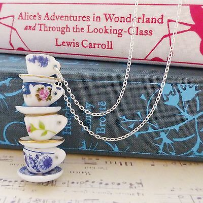 QUIRKY aLiCe MISMATCHED CHINA FOUR BLUE PINK ROSE TEA CUPS STACK SILVER NECKLACE