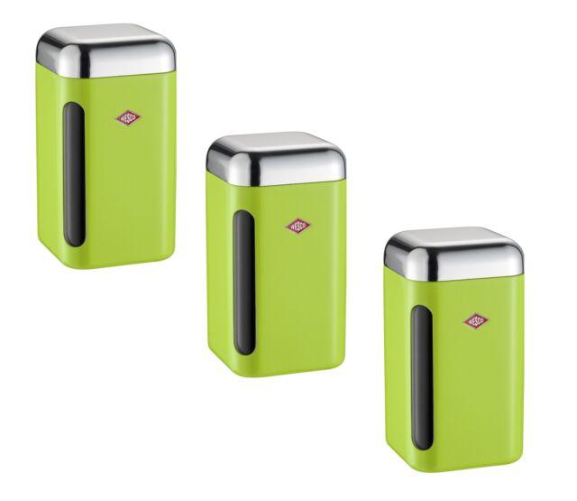 Wesco Dose Inventaire Lot de 3 Citron Vert 1,65 L Boite à Gâteaux Boîte à Café