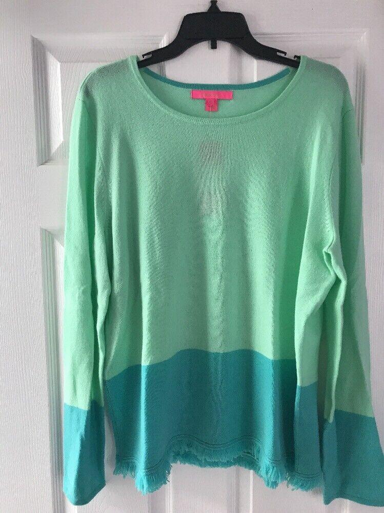 Nuevo con etiquetas Lilly  Pulitzer Rica Cachemira Suéter Resort Aqua Color Bloque XL Cristales de mar  grandes precios de descuento