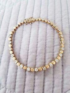 Gold-tone-Over-Sterling-Silver-CZ-Tennis-Bracelet-Retail-65