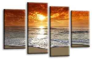 Sunset-Beach-Wall-Art-Picture-Orange-Grey-Landscape-Canvas-Print-Split-Panel