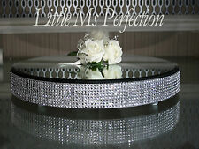 DIAMANTE CRYSTAL MIRROR PLATE - CAKE STAND - WEDDING TABLE CENTRE PIECE  16""