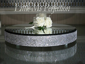 """DIAMANTE CRYSTAL MIRROR PLATE - CAKE STAND - WEDDING TABLE CENTRE PIECE  16"""""""