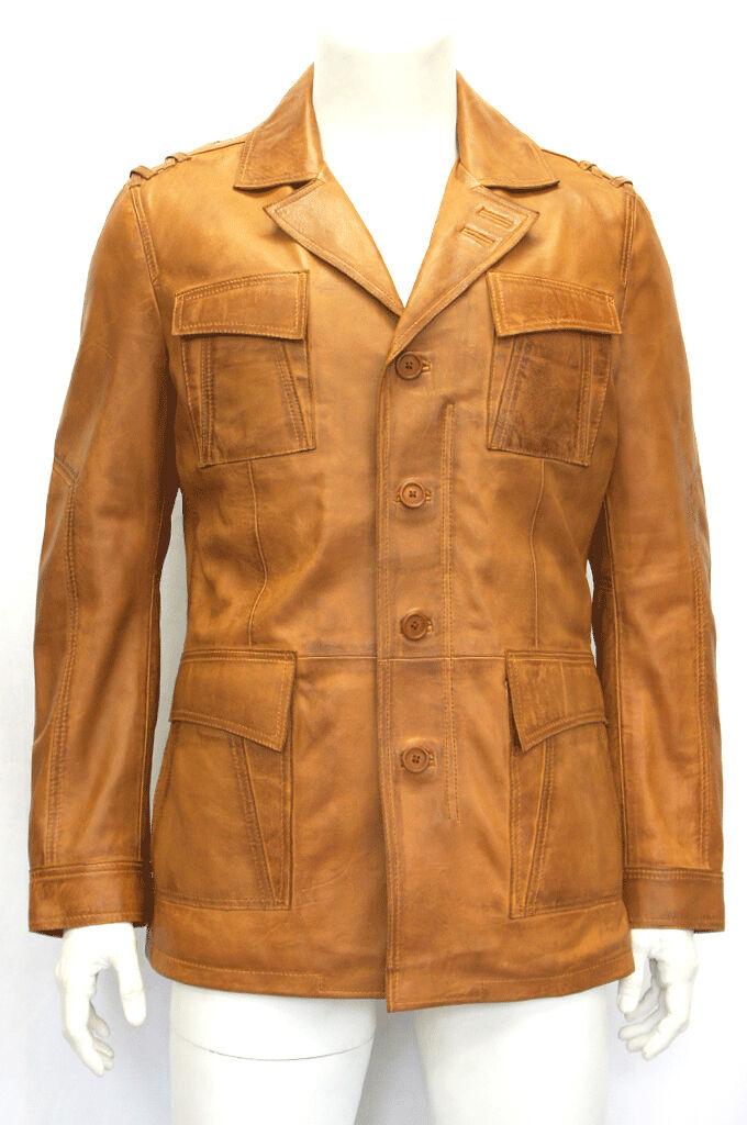 Peter Tan Italian Wash Wax Designer Real Lambskin Leder Mid Length Blazer Coat