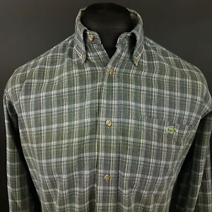Lacoste-Mens-Vintage-Shirt-38-SMALL-Long-Sleeve-Blue-Regular-Fit-Check-Cotton