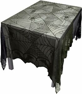 Image Is Loading Gothic Black Lace BAT SPIDER WEB TABLE CLOTH