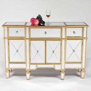 Antique Gold Gilt Venetian Mirrored Glass Sideboard Storage Cabinet Unit Ebay