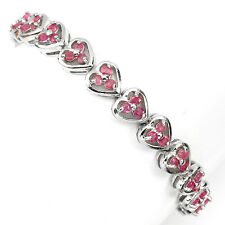 Sterling Silver 925 Genuine Natural Pink Ruby Heart Design Bracelet 7 Inches