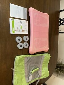 Nintendo Wii Fit Balance Board Wii Bundle Pink Skin Carrying Case Game Tested