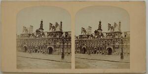 Hotel De Ville De Paris Francia Foto Stereo Vintage Albumina